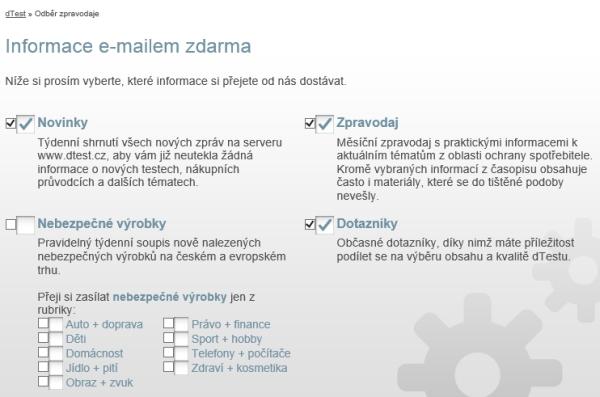 Ukázka formuláře na stránce dtest.cz