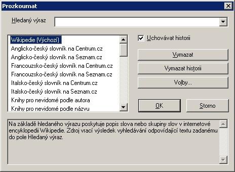 Dialogové okno funkce Prozkoumat
