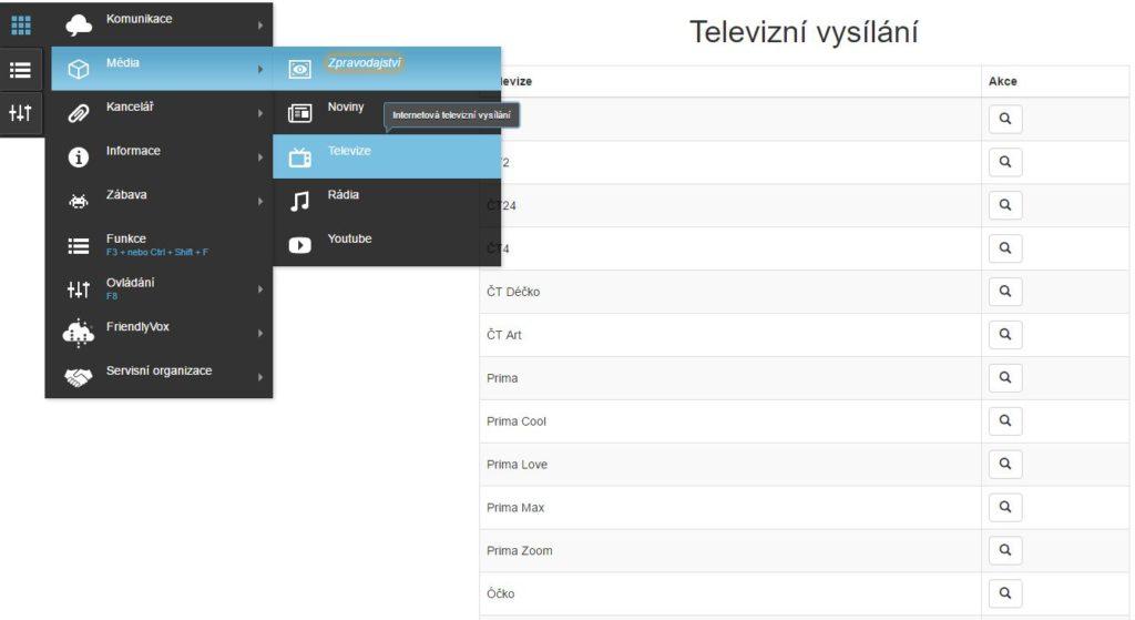 FriendlyVox – screenshot přehled TV stanic