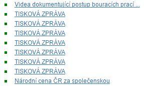 Screenshot – sedm identických odkazů Tisková zpráva