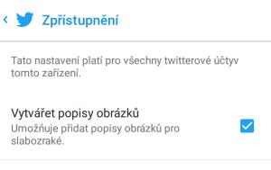 Twitter - Nastavení - Vytvářet popisy obrázků