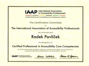 Certificate - Certified Professional in Accessibility Core Competencies