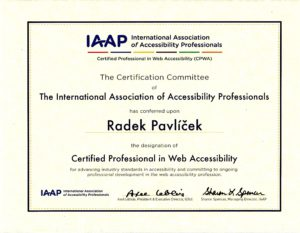Certificate - Certified Professional in Web Accessibility