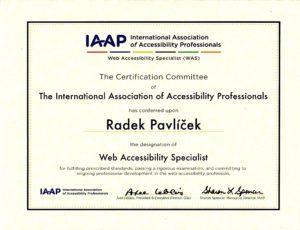 Certificate - Web Accessibility Specialist