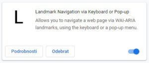 Landmark Navigation via Keyboard or Pop-up