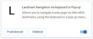 Landmark Navigation via Keyboard or Pop-up